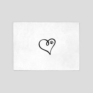 Pawprint on my heart 5'x7'Area Rug