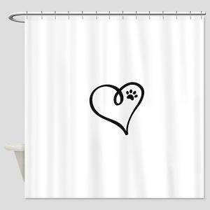 Pawprint on my heart Shower Curtain