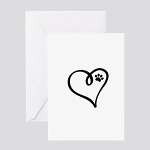 Pawprint on my heart Greeting Cards