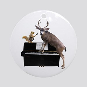 Deer Piano Round Ornament