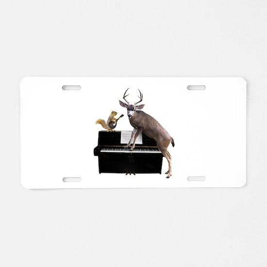 Deer Piano Aluminum License Plate