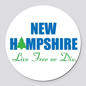 NEW HAMPSHIRE - LIVE FREE OR DIE Round Car Magnet