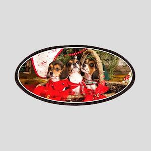 Three Tricolor Beagle Puppies in a Basket un Patch