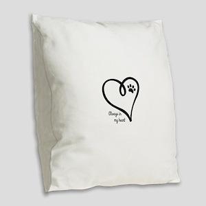 Always in my Heart Burlap Throw Pillow