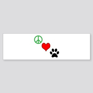 Peace, Love, Paws Bumper Sticker