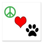 Peace, Love, Paws Square Car Magnet 3