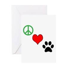 Peace, Love, Paws Greeting Cards