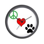 Peace, Love, Paws Wall Clock