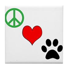 Peace, Love, Paws Tile Coaster