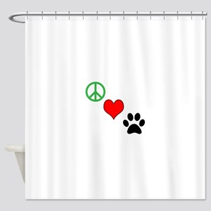 Peace, Love, Paws Shower Curtain
