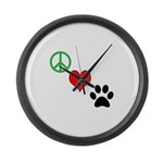 Peace, Love, Paws Large Wall Clock