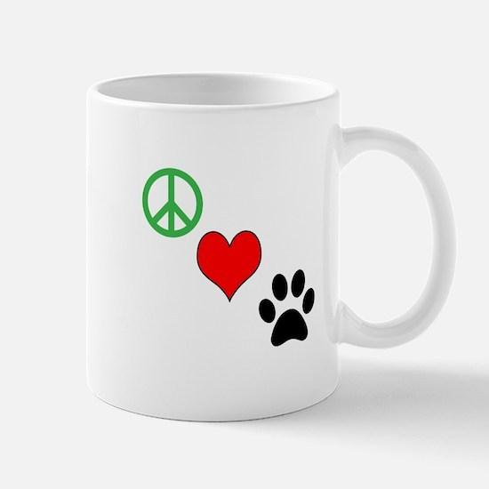 Peace, Love, Paws Mugs