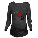 Peace, Love, Paws Long Sleeve Maternity T-Shirt