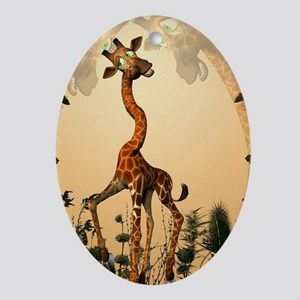 Funny giraffe Oval Ornament