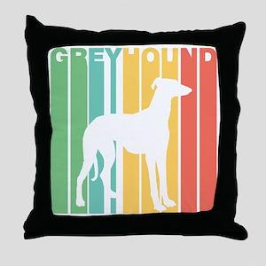 Retro Greyhound Silhouette Throw Pillow