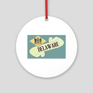Delaware Scroll Round Ornament