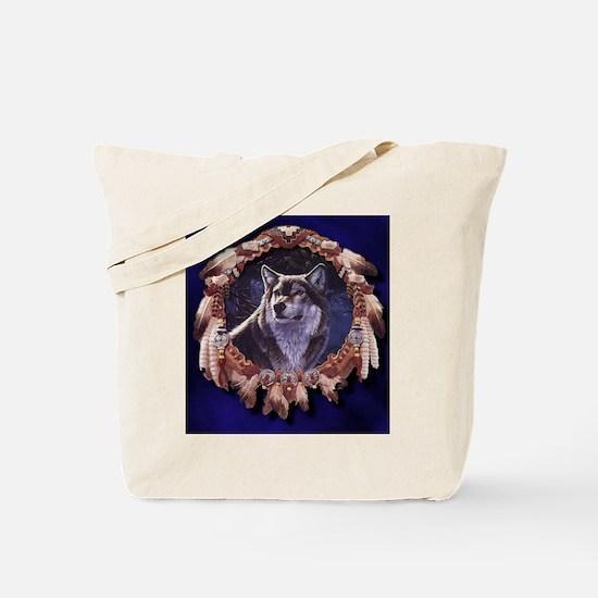 Native American Wolf Dream Catcher Tote Bag