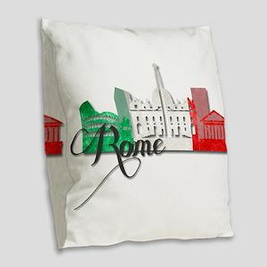 Rome Italy Burlap Throw Pillow