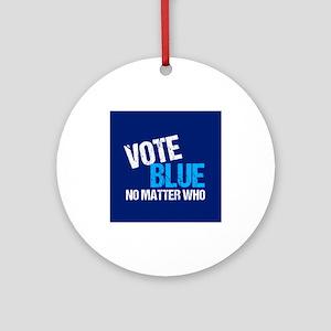 Vote Blue Democrat Round Ornament