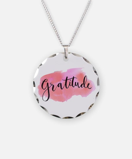 Gratitude Necklace Circle Charm