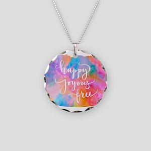 Happy Joyous Free Necklace Circle Charm