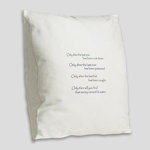 Cree Indian Prophecy Burlap Throw Pillow
