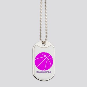 Pink Basketball Girls Dog Tags
