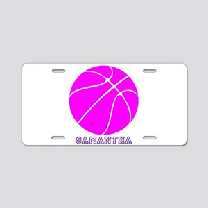 Pink Basketball Girls Aluminum License Plate