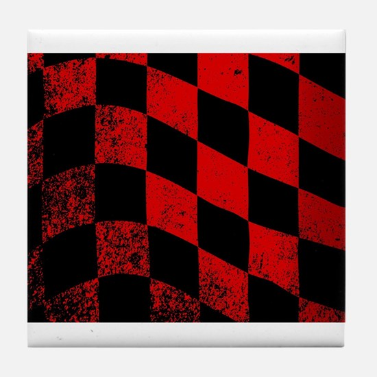 Dirty Chequered Flag Tile Coaster
