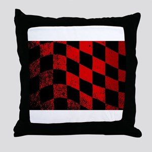 Dirty Chequered Flag Throw Pillow