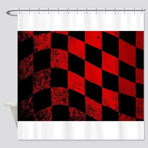 Dirty Chequered Flag Shower Curtain