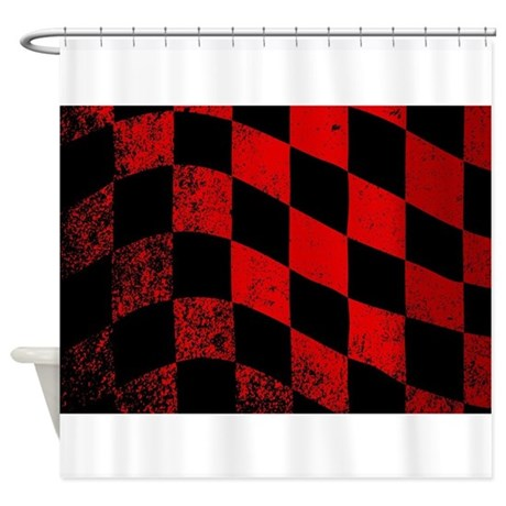 Dirty Chequered Flag Shower Curtain By ADMIN CP133759785