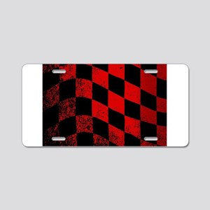 Dirty Chequered Flag Aluminum License Plate