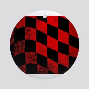 Dirty Chequered Flag Round Ornament