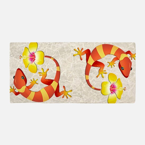 Red And Yellow Lizard Beach Towel