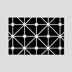Black And White Grid Lattice Patt Rectangle Magnet