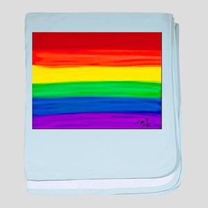 Gay rainbow art baby blanket