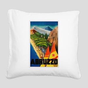 Abruzzo Italy - Vintage Travel Square Canvas Pillo