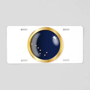 Alaska Flag Button Aluminum License Plate