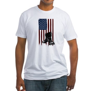 American Flag and Boots Fitted T-Shirt