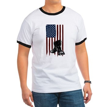American Flag and Boots Ringer T