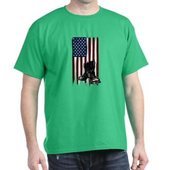 American Flag and Boots Dark T-Shirt