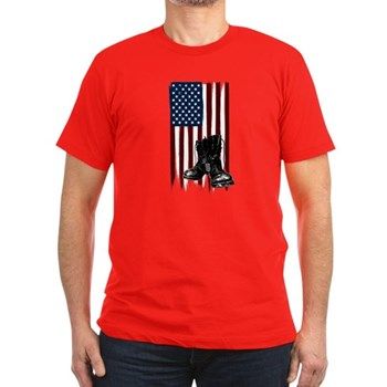 American Flag and Boo Men's Fitted T-Shirt (dark)