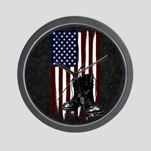 American Flag and Boots Wall Clock