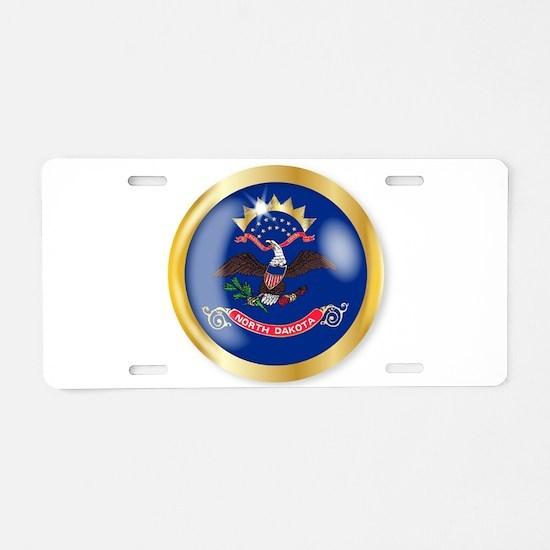 North Dakota Flag Button Aluminum License Plate
