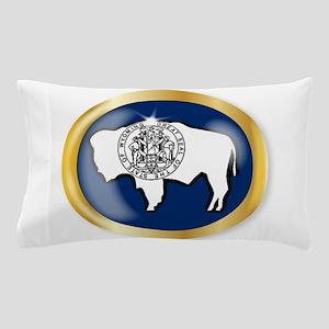Wyoming Flag Button Pillow Case