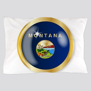 Montana Flag Button Pillow Case