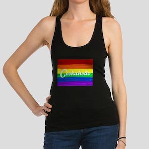 Cockaholic gay rainbow art Racerback Tank Top