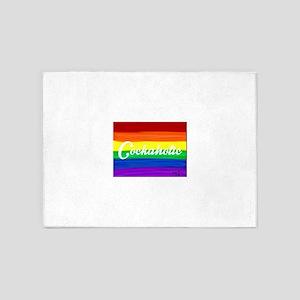 Cockaholic gay rainbow art 5'x7'Area Rug