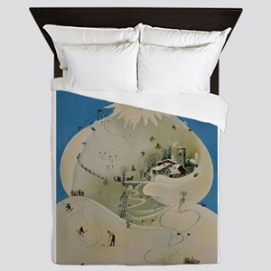 Adelboden Switzerland - Snowman Travel Queen Duvet